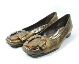 Liz Claiborne Dress Loafers Women's Sz 6.5 Gold Faux Leather Uppers (sb5ep) - $28.00