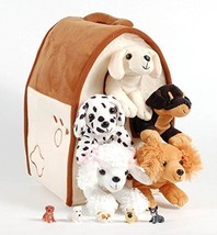 """Unipak 12"""" Plush Dog House Carrying Case with Five 5 Stuffed Animal Dogs... - $36.34"""