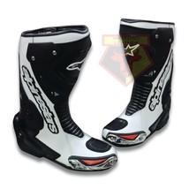 ALPINESTARS BLACK WHITE WATERPROOF COWHIDE LEATHER MOTORCYCLE RACE TRACK... - $229.99