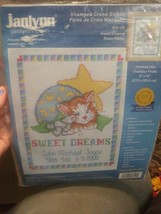 2001 Janlynn Stamped Cross Stitch Kit 56-129 SWEET DREAMS Baby Announcement - $7.62