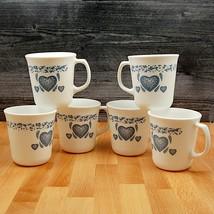 Corelle Corning Blue Hearts Coppa Set Di 6 Tazze Per Caffè O Tè 9.2cm (9cm) - $19.06