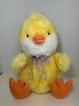 Russ Berrie large Chickles Easter chick chicken plush purple plaid ribbo... - $14.84