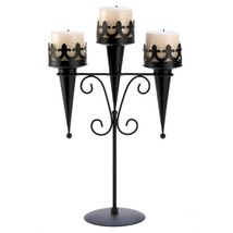Triple Gothic Torch Style Candle Holder Stand Iron Decor - $37.99