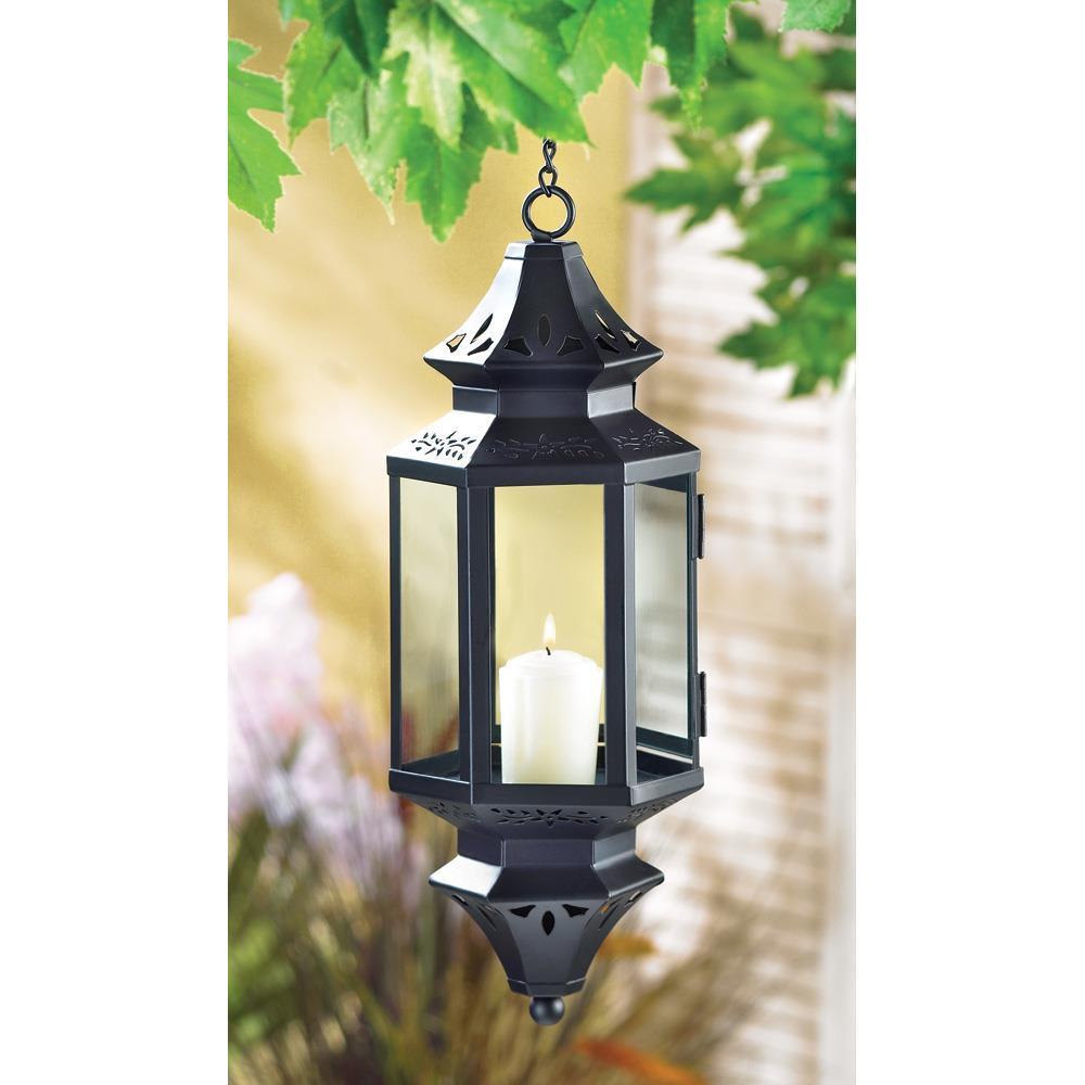 Black hanging Asian metal glass patio deck den room candle holder lantern lamp image 2