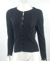 Ann Taylor Womens Cardigan Sweater Size Large Black Silver Pointelle But... - $24.75