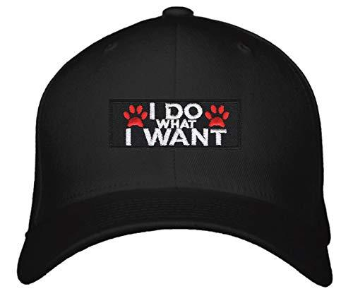 I Do What I Want Hat - Pawprints Funny Cap For A Dog Fan (Black Snapback)