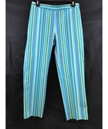 Casual Corner Annex Blue Striped Stretch Capri Pants Size 2 New With Tags - $16.83