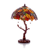 Autumn Leaves Table Lamp with Tree Trunk Base Home Decor Lights Tiffany ... - $299.99
