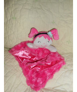 CUTE Baby Gear Pink Girl SECURITY BLANKET Lovey Blue Flower & Pigtails - $11.69