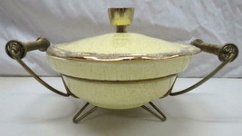 Vtg Mid Century Modern California USA Pottery Casserole Dish w/ Lid Brass Stand - $49.45