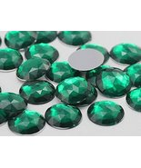 20mm Green Emerald H106 Flat Back Round Acrylic Gems Pro Grade - 20 Pieces - $5.33