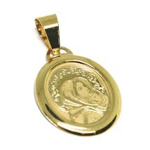Pendant Medal Yellow Gold 750 18k, Virgo Mary Jane & Jesus Child, Oval - $111.78