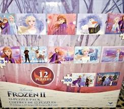 Disney Frozen II 12 Puzzle Pack Elsa Anna Kristoff Sven Olaf - $15.00
