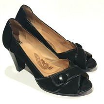 Sofft Womens Heels Black Gabby Suede Leather Shoes Peep Toe Shoes Pumps 9 M - $23.76