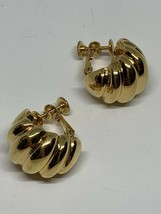 Vintage Signed Napier Gold Tone Shell Half Hoops Screw Back Clip On Earr... - $13.86