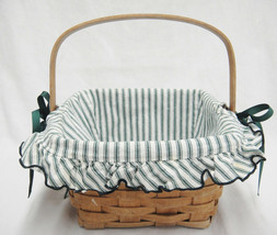 "Longaberger 8"" Square Berry Basket Swing Handle Green Striped Fabric Liner 1991 - $19.79"
