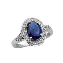925 Sterling Silver Oval Cut BLUE COLOR GEMSTONE Solitaire Ring Gift FOR... - $11.82