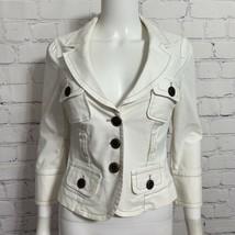 Bebe Women's Denim Jacket 6 White Crop V-Neck Button Down - $24.19