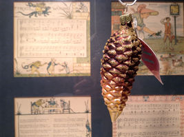 Brown Pine Cone w Gold Hand Blown Glass Ornament Tree Old German Christmas image 3