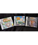 Nintendo DS Lot Of 3 Games Science Papa Phineas and Ferb Titanic - $14.65