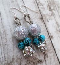Turquoise Earrings, Dangle Earrings, Silver Earrings, Nickle Free Earrings - $10.00