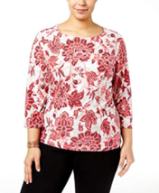 Jm Collection Plus Size Printed Jacquard Top in Prink Flower, 1X - $24.74