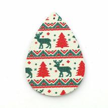 4 Teardrop Faux Leather Pendants Christmas Argyle Reindeer Print Jewelry... - $4.10