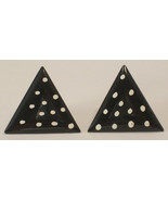 Triangle Shaped Black with White Dots Pierced E... - $12.00