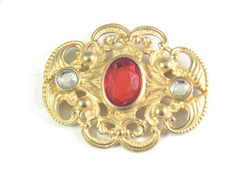 Vintage Large gold Tone Brooch with Red and Clear Rhinestone accents - $15.29