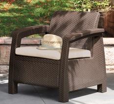 Brown Armchair Outdoor Patio Garden Yard Backyard Poolside Furniture Tan... - $108.88