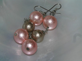 Estate Orange Two Pink & One Taupe Colored Bead Dangle Earrings for Pier... - $7.69