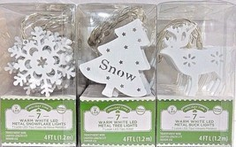 Led Lights String Holiday Time  Metal Battery 4 Ft Deer Snowflake Tree 3 Sets - $9.47