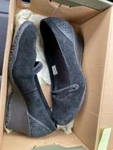 Merrell Womens Black Suede Mary Jane Slip On Wedge Heels Size 7.5 71/2 - $30.20