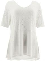 Isaac Mizrahi Knit Eyelet Elbow Slv Peplum Top Bright White XL NEW A305240 - $24.73