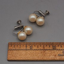 Vintage Faux Pearl Screw On On Earrings 1950's 1960's image 2