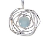 Blue 925 Sterling Silver captivating Aqua Chalcedony wholesale Pendant AU gift