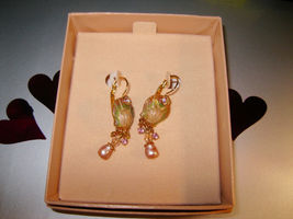 "KIRKS FOLLY ""Oyster Shell"" Earrings in Enamel and Gold-Tone - 1 3/4 inches - $35.00"
