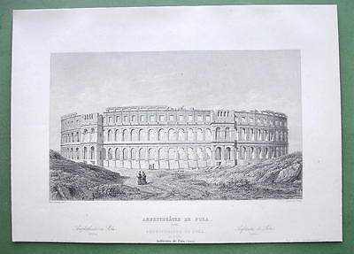 CROATIA Roman Amphitheatre at Pola - 1860 SCARCE Engraving Print