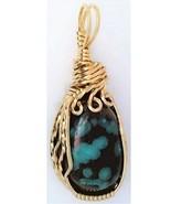 Chrysocolla Gold Wire Wrap Pendant 26 - $44.00