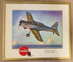 "WW II 1943 Vultee Trainer Heaslip Signed Coca Cola Litho Print 15"" x 13"" - $59.66"