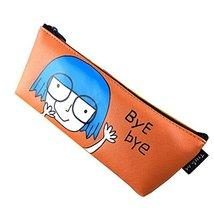 Cute Cartoon Pen Bag Pencil Case Stationery Bag Cosmetic Makeup Bag, Orange - £10.32 GBP
