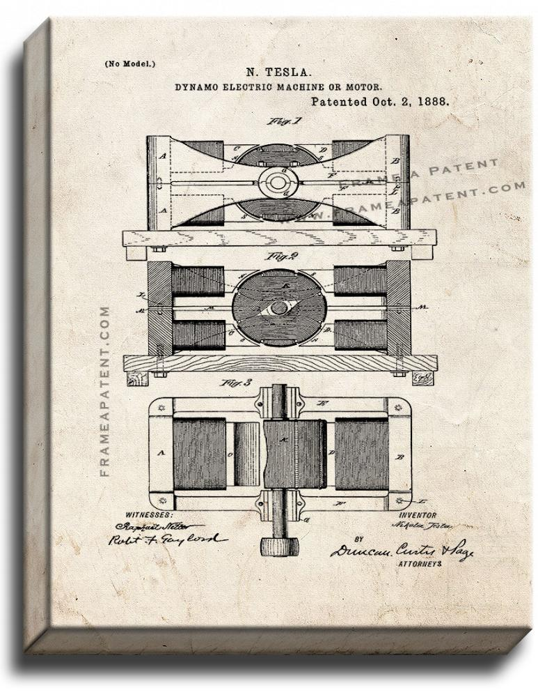 Primary image for Tesla Dynamo-Electric Motor Patent Print Old Look on Canvas