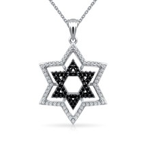 Black CZ Star of David Pendant Sterling Silver Necklace 18 Inches - $93.75