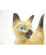 Siamese Cat Carved Wood Figurine Figure Painted Detailed Kitty Kitten Es... - $16.78