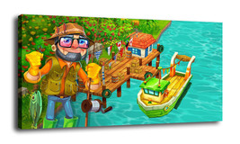 Cartoon  Art Home Decor Oil Painting Print On Canvas Man Fishing - $17.41+