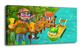 Cartoon  Art Home Decor Oil Painting Print On Canvas Man Fishing - $17.41+