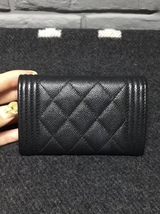 AUTH CHANEL BLACK QUILTED CAVIAR LARGE BOY TRI-FOLD COIN WALLET  image 2