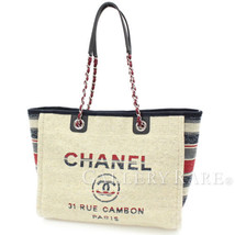 CHANEL Deauville Beige Canvas A67001 Italy Shopping Tote Bag Authentic 4... - $1,948.73