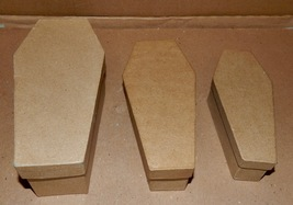 """Halloween Coffins Paper Board 3 Each Set 8"""" x 3 3/4"""" To Smaller Fit Insi... - $9.49"""