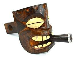 WOOD TIKI HEAD MASK HITCH COVER, one of a kind design WITH CIGAR - $27.66